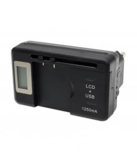 CARGADOR UNIVERSAL DE BATERIAS CON USB Y PANTALLA LCD